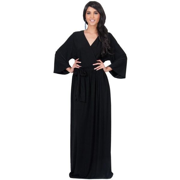 Koh Koh Women's Long Sleeve Kimono V-neck Wrap Maxi Dress