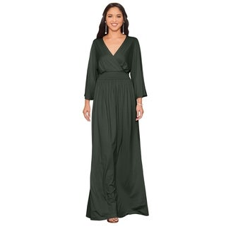 Koh Koh Women's Long Sleeve Kimono V-neck Wrap Maxi Dress