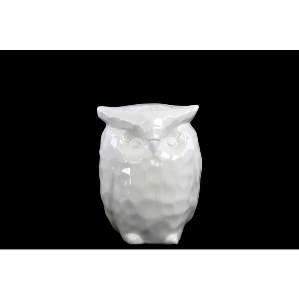 Ceramic Standing Owl Figurine Sm Gloss White 16864503