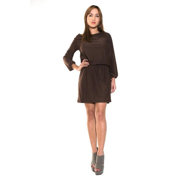 Body Language Women's Micro Suede Long Sleeve Dress
