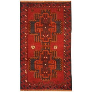 Herat Oriental Afghan Hand-knotted Tribal Balouchi Red/ Navy Wool Rug (2'10 x 4'9)