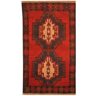 Herat Oriental Afghan Hand-knotted Tribal Balouchi Red/ Navy Wool Rug (2'9 x 4'9)