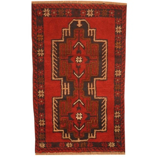 Herat Oriental Afghan Hand-knotted Tribal Balouchi Red/ Navy Wool Rug (2'8 x 4'6)