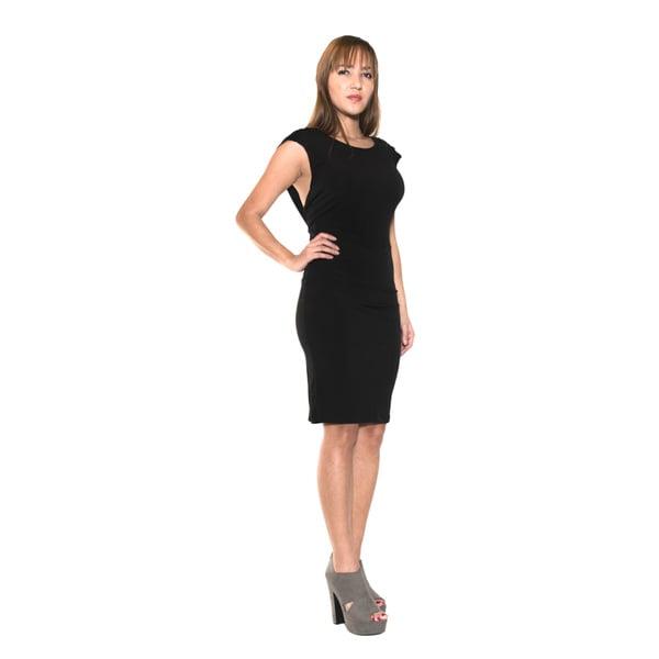 Body Language Women's Sleeveless Draped Boatneck Cocktail Dress