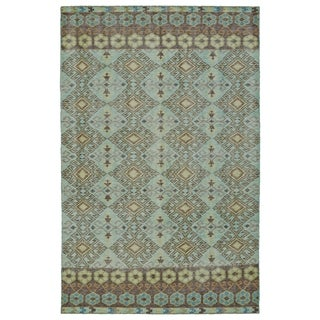 Hand-Knotted Vintage Turquoise Kilim Rug (8'0 x 10'0)