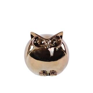 Ceramic Spherical Owl Figurine SM Polished Chrome Gold