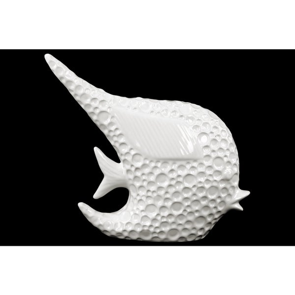 Porcelain Angel Fish Figurine Dimpled Gloss White