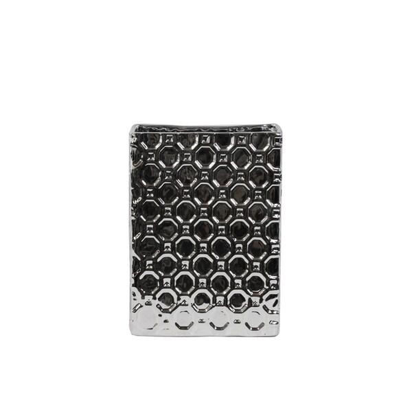 Porcelain Broad Rectangular Vase SM Patterned Polished Chrome Silver