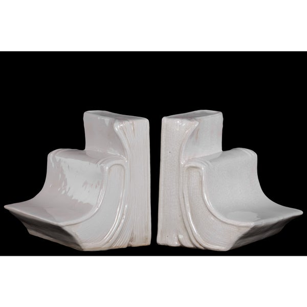 Ceramic Book Bookend Set of Two Gloss White