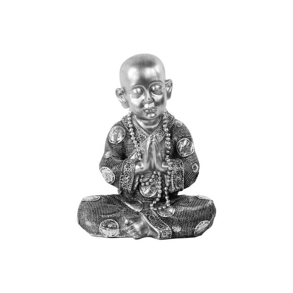 Urban Trends Meditating Buddhist Monk Brushed Silver Resin Figurine in Anjali Mudra