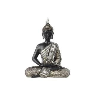 Resin Meditating Buddha Figurine in Dhyana Mudra with Pointed Ushnisha Silver