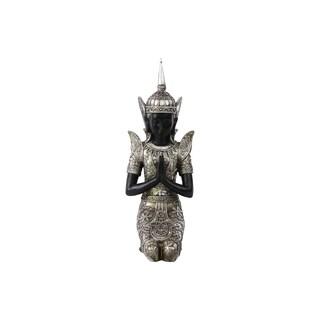 Resin Kneeling Buddha Figurine in Anjali Mudra with Pointed Ushnisha Silver