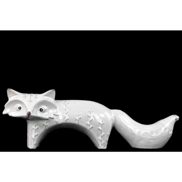 Ceramic Standing Fox Figurine with Embossed Design Lg Distressed Gloss White 16865122