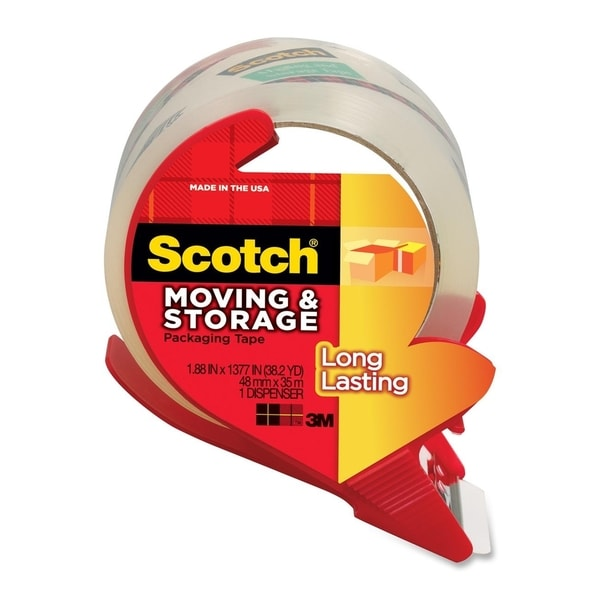 Scotch Moving and Storage Packaging Tape with Dispenser - 1/RL
