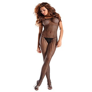 Women's Black Open Crotch Bodystocking