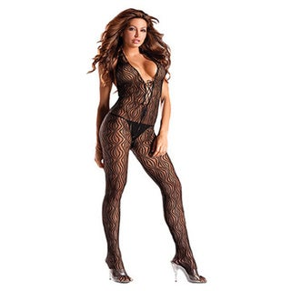 Women's Black Halter Top Bodystocking