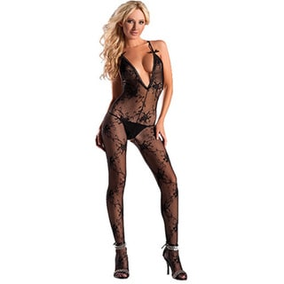 Women's Black Boudoir Rose Bodystocking