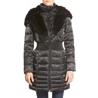 Laundry by Shelli Segal Caviar Black Cinched Waist Puffer