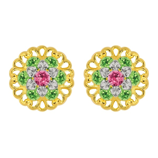 Lucia Costin Sterling Silver Pink/ Light Green Crystal Earrings with Flower