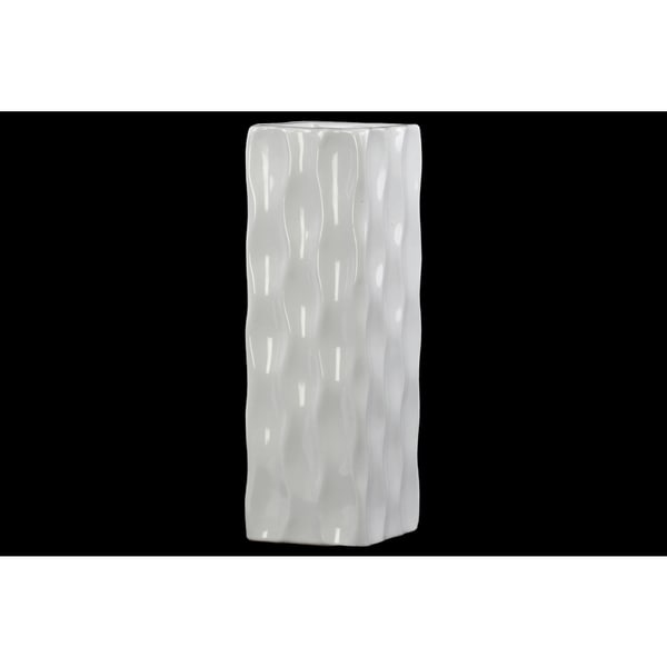 Ceramic Tall Square Vase - Gloss White