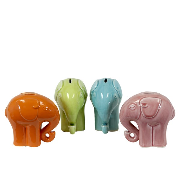Glossy Assorted Color Ceramic Elephant Bank (Set of Four)