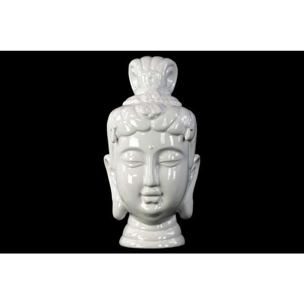 Ceramic Buddha Head Decor Gloss White