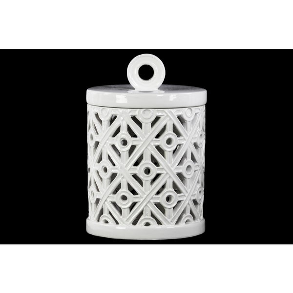 White Ceramic Jar with Cut-out Design