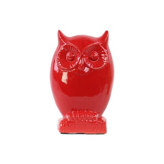 Gloss Red Ceramic Owl Figurine on Base