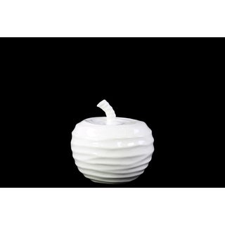 Ceramic Apple Figurine with Embossed Wave Surface SM Gloss White