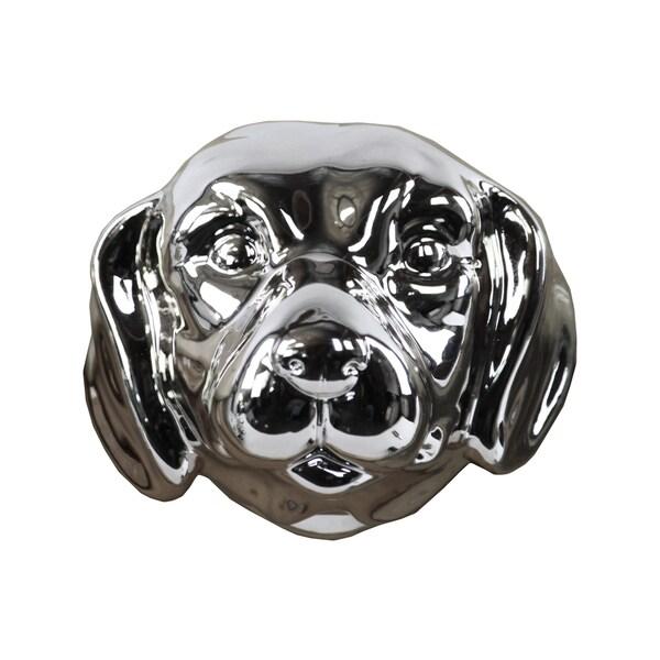 Ceramic Labrador Dog Head Polished Chrome Silver
