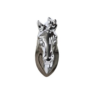 Ceramic Horse Head Wall Decor Polished Chrome Silver