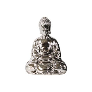 Ceramic Meditating Buddha with Rounded Ushnisha in Mida No Jouin Mudra Figurine Polished Chrome Silver