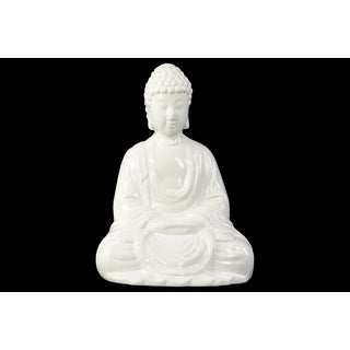 Ceramic Meditating Buddha with Rounded Ushnisha in Mida No Jouin Mudra Figurine Gloss White