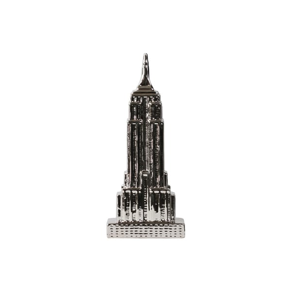 Ceramic Empire State Building Figurine Polished Chrome Silver