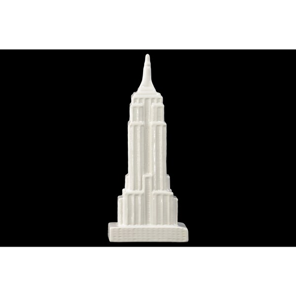 Ceramic Empire State Building Figurine Gloss White