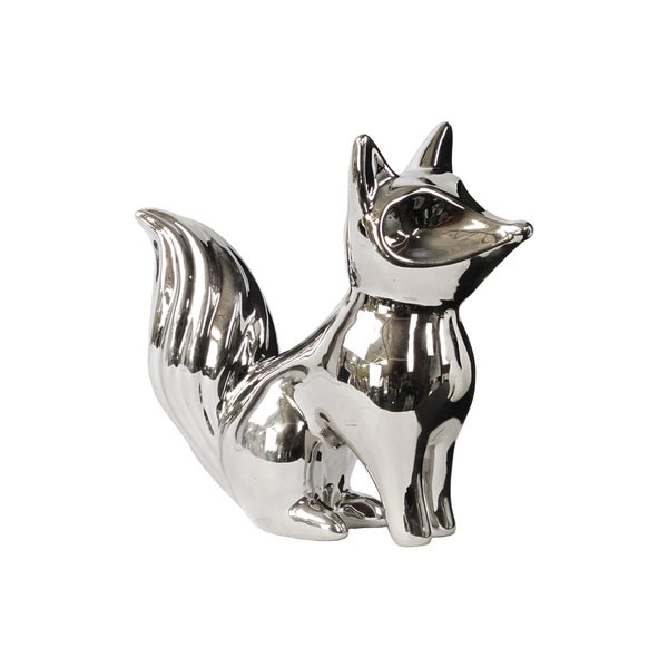 Polished Chrome Silver Ceramic Standing Fox Looking Up Figurine