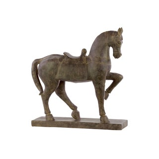 Resin Espresso Brown Horse with Saddle Figurine