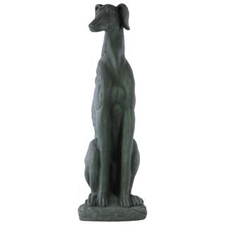 Fiberstone Sitting Greyhound Dog Statue Grey On Base Cement Grey