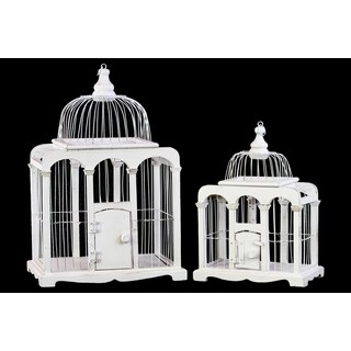 Wood Bird Cage with Dome top Metal Bar Sides and Ring Hanger White (Set of 2)