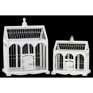Wood Bird Cage with Side-gabled top Metal Bar Sides and Ring Hanger White (Set of 2)