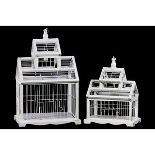 White Wood and Metal Bird Cage with Ring Hanger (Set of 2)