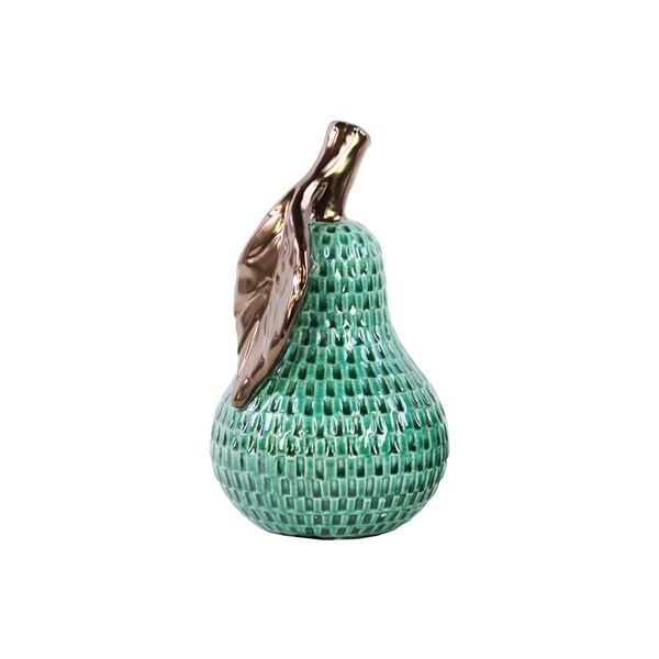 Ceramic Pear with Copper Leaf LG Turquoise