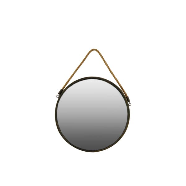 Metal Round Wall Mirror with Gold Rope
