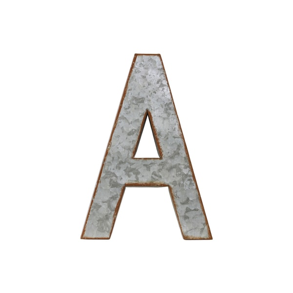 Galvanized Zinc Metal Alphabet Wall Decor Letter 'A' with Rusted Edge Effect