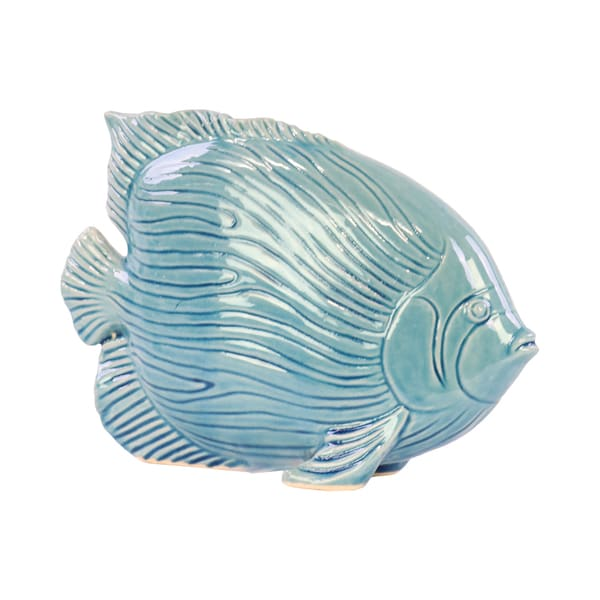 Urban Trends Gloss Blue Ceramic Fish with Linear Scales Figurine