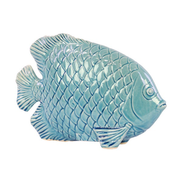 Urban Trends Blue Ceramic Fish with Engraved Hexagonal Scales