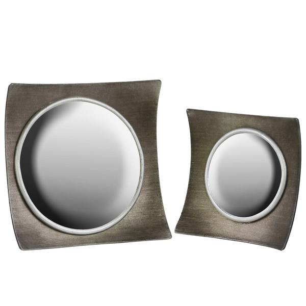 Wood Concave Mirror with Square Shaped Convex Frame Metallic Taupe Gray (Set of 2)