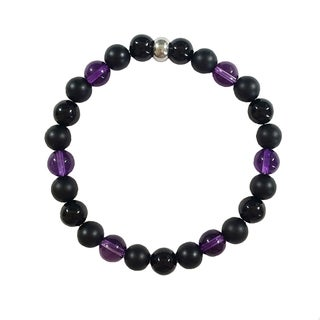 Amethyst and Black Onyx Bracelet