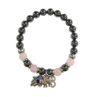 Hematite and Rose Quartz 'Protection From Negativity' Hamsa Hand/ Ohm/ Elephant Bracelet