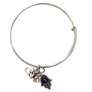 'Protection From Negativity' Hamsa Hand/ Ohm/ Elephant Charm Bangle